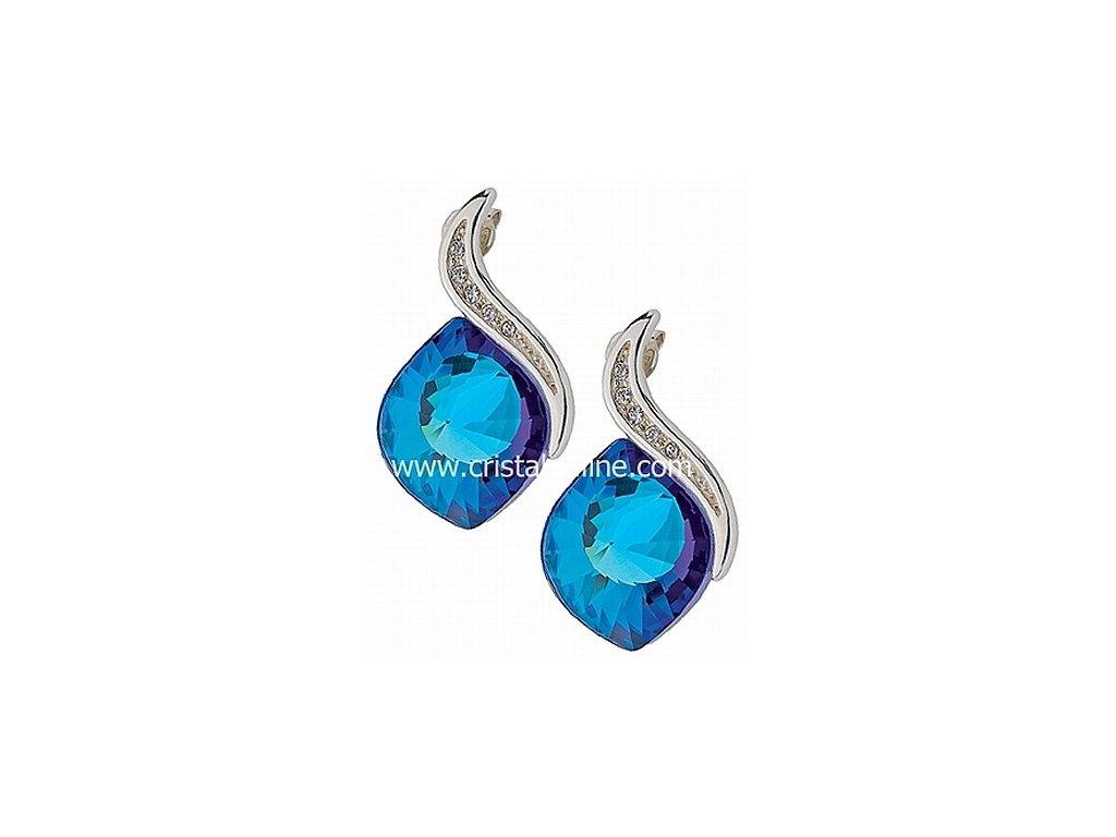 Náušnice z broušeného skla Butterfly Dream v modré barvě od firmy Preciosa