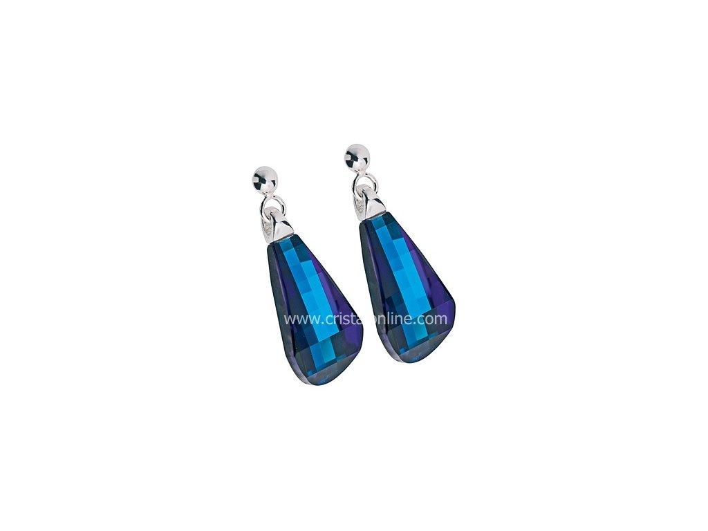 Preciosa  Broušený křišťál  Náušnice Pleione  Bermuda Blue
