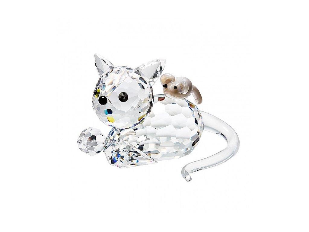 Skleněná figurka z broušeného křišťálu Sklo Bohemia - Kočka s myší