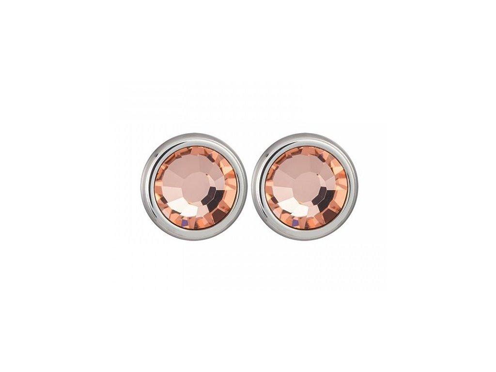 Stříbrné náušnice Magical Spark v meruňkové barvě od firmy Preciosa