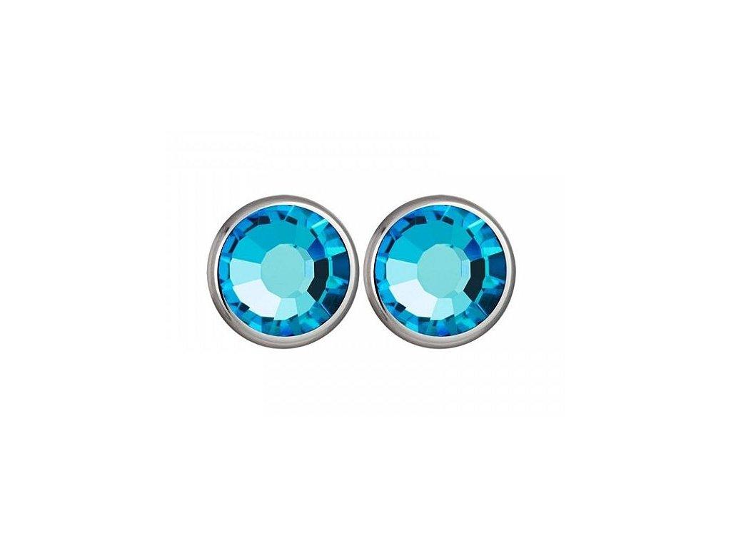 Stříbrné náušnice Magical Spark v modré barvě od firmy Preciosa