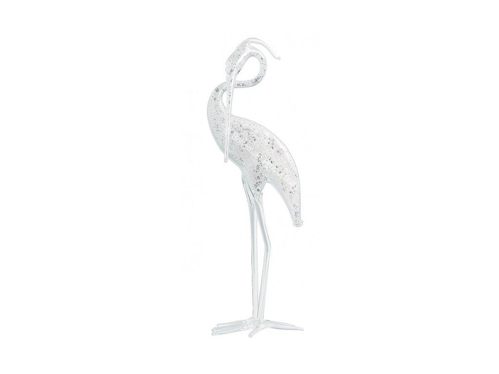 Skleněná figurka z českého skla - Volavka stříbřitá 2