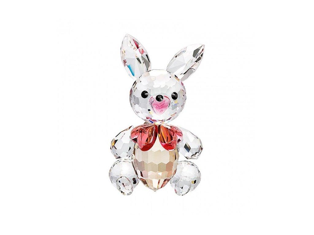 Skleněná figurka z broušeného křišťálu Sklo Bohemia - Zajíček s mašlí (růžová)