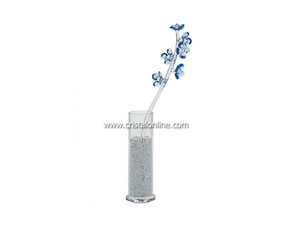 Broušená kytka s vázou a perlami  Pyrola (modrá)