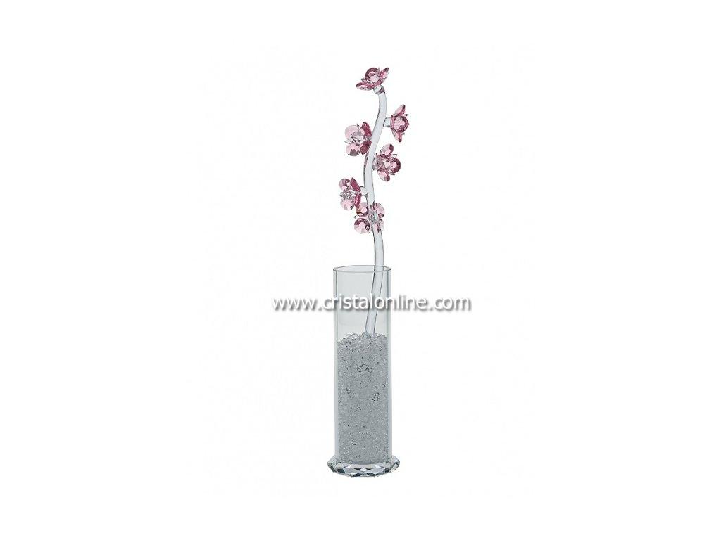 Broušená kytka s vázou a perlami  Pyrola (růžová)