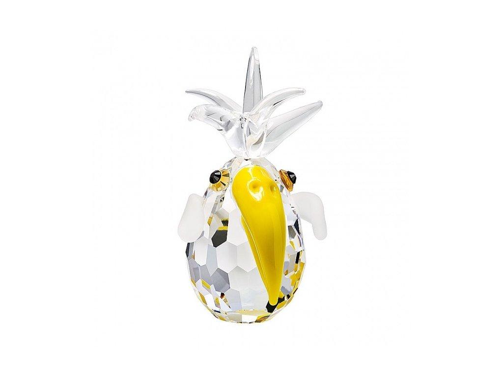 Skleněná figurka z broušeného křišťálu Sklo Bohemia - Papoušek (žlutá)