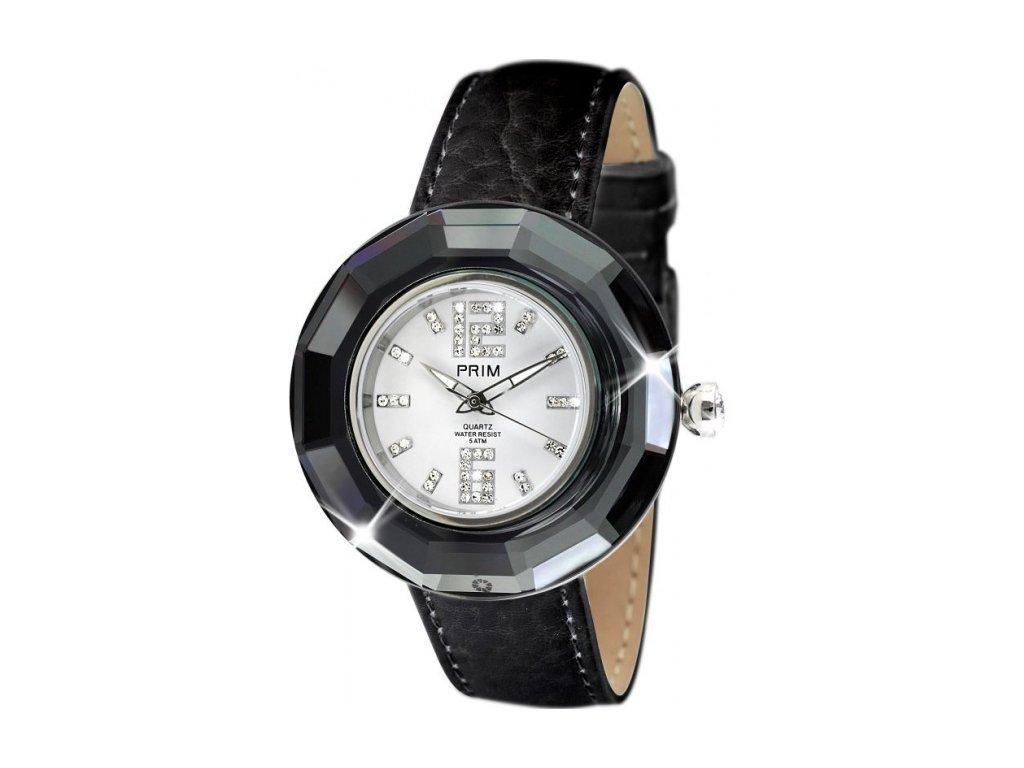 Dámské hodinky Crystal Time v černé barvě Preciosa