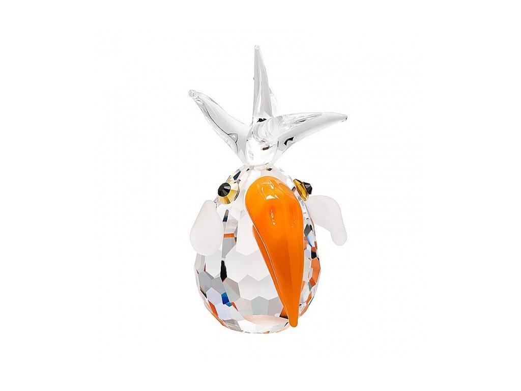 Skleněná figurka z broušeného křišťálu Sklo Bohemia - Papoušek (oranžová)
