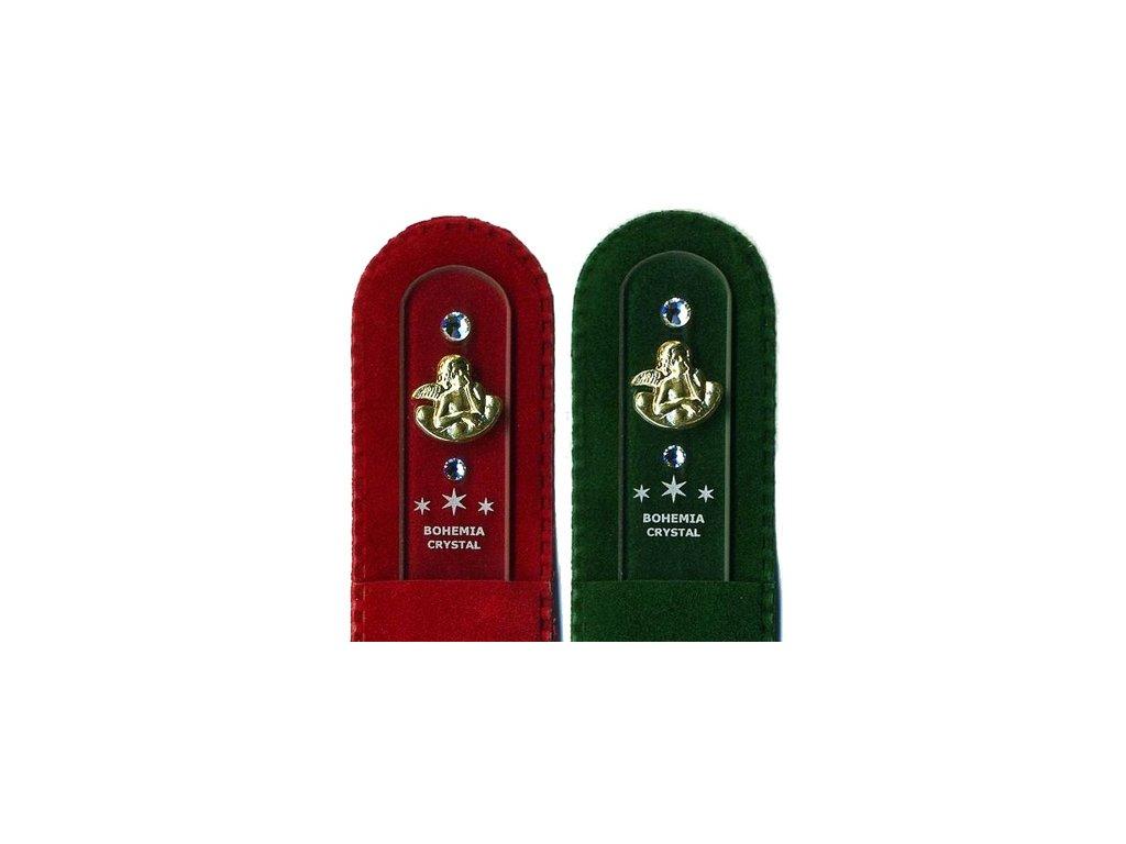 Skleněný pilník na nehty 135 mm se zlatou miniaturou a Swarovski - Anděl