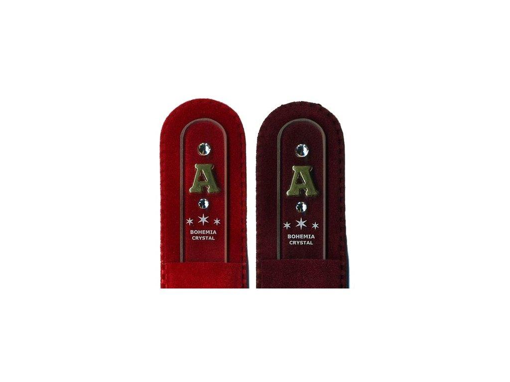 Skleněný pilník na nehty 135 mm s iniciálou jména z pravého zlata - A