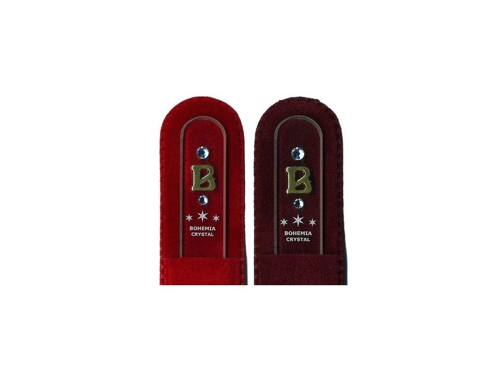 Skleněný pilník na nehty 135 mm s iniciálou jména z pravého zlata - B