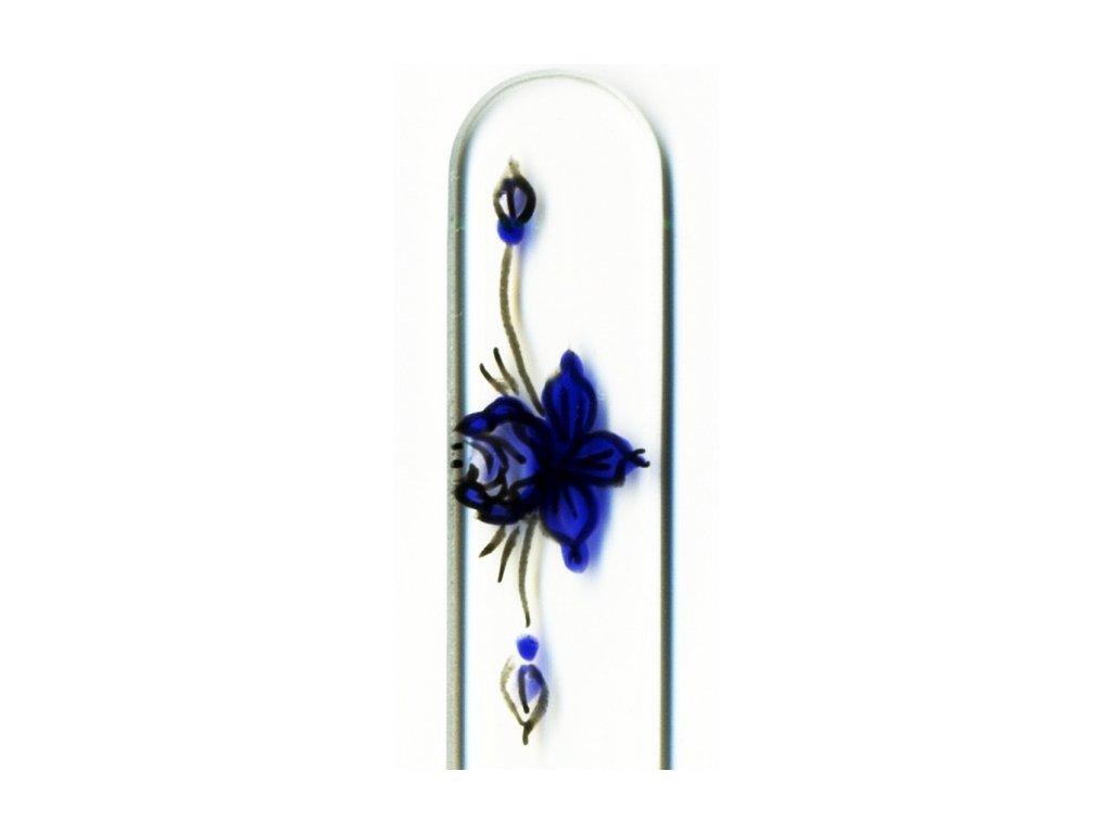 Skleněný pilník na nehty ručně malovaný 135 mm - Ornament květiny