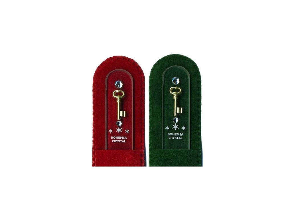 Skleněný pilník na nehty 135 mm se zlatou miniaturou a Swarovski - Klíč