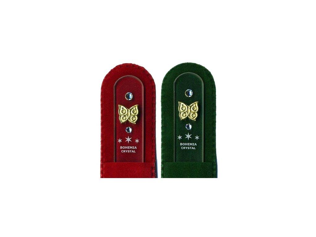 Skleněný pilník na nehty 135 mm se zlatou miniaturou a Swarovski - Motýl