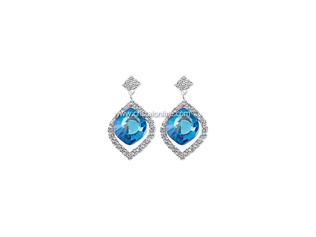 Štrasové náušnice s broušeným kamenem Cassiopeia v modré barvě od firmy Preciosa
