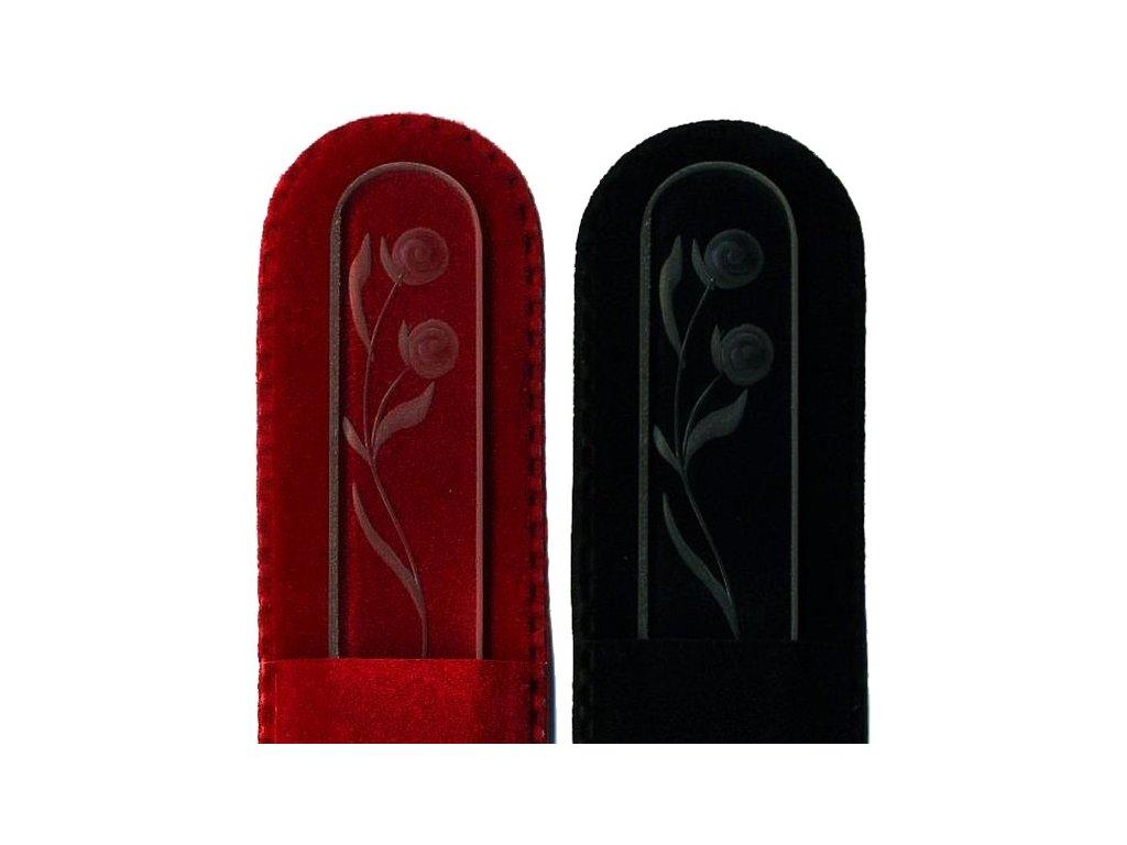 Skleněný pilník na nehty ručně rytý 135 mm - Květina