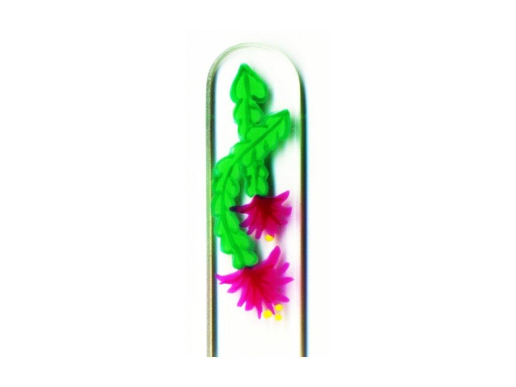 Skleněný pilník na nehty ručně malovaný 135 mm - Vánoční kaktus