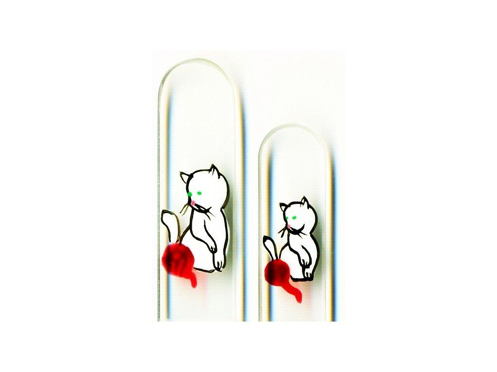 Skleněné pilníky na nehty ručně malované 90 a 135 mm – Bílé koťátko s klubíčkem
