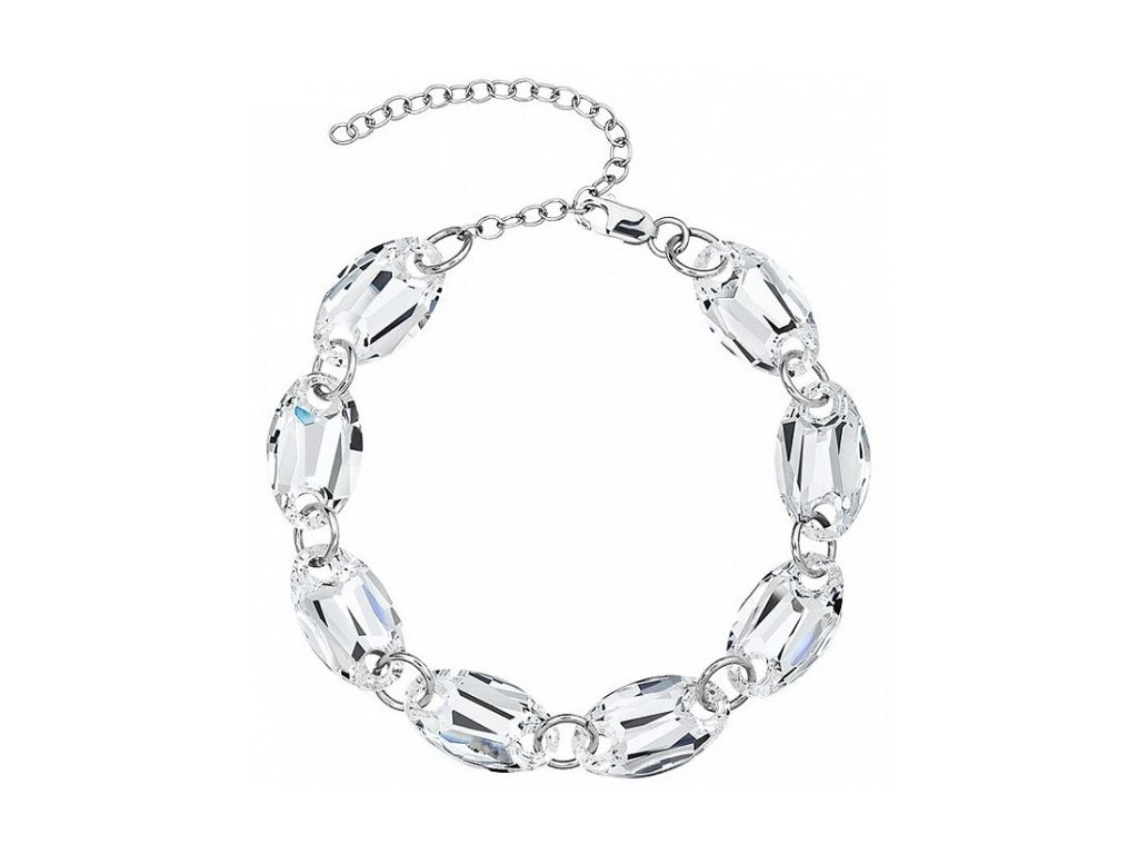 Stříbrný náramek Elegancy II v křišťálové barvě od firmy Preciosa