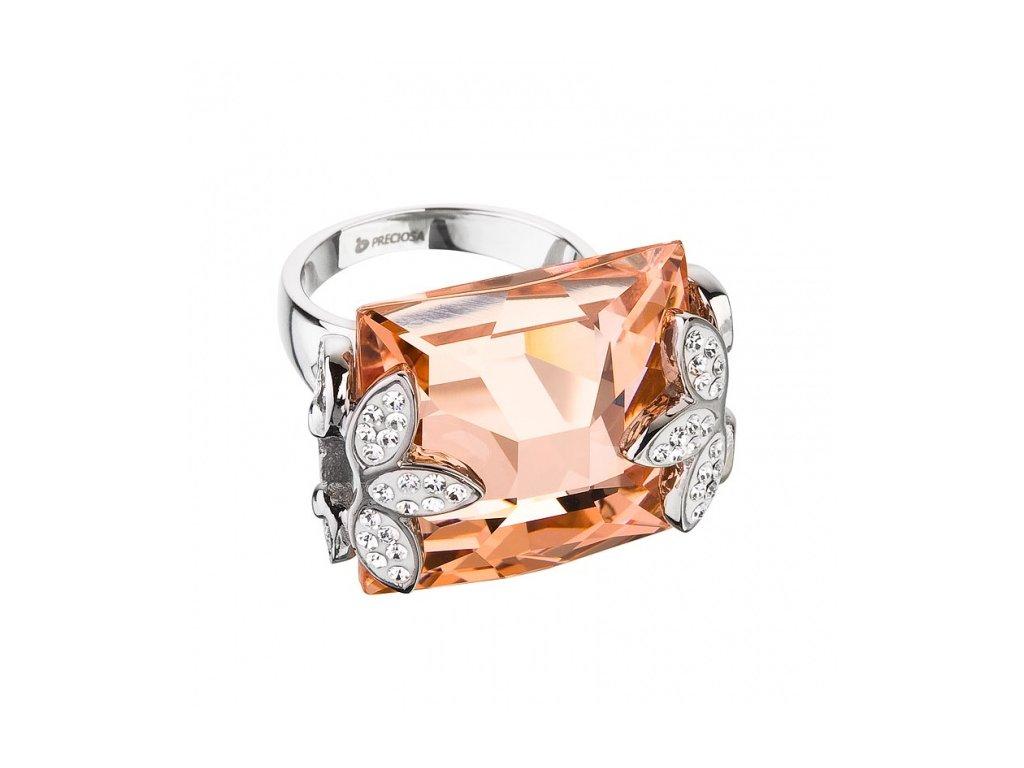 Prsten z broušeného skla Floraison v meruňkové barvě od firmy Preciosa