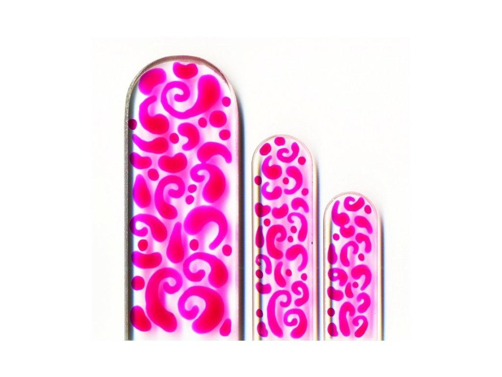Skleněné pilníky na nehty ručně malované 90, 135 mm a pedikúra – Růžový orient