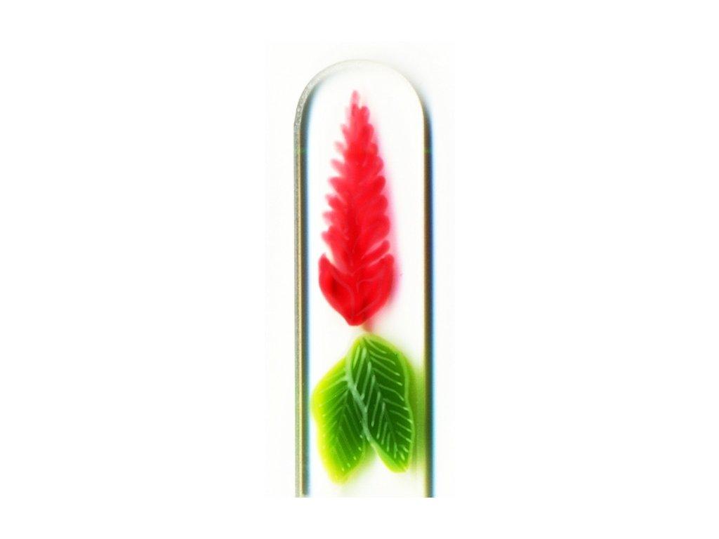 Skleněný pilník na nehty ručně malovaný 135 mm - Červený plamen
