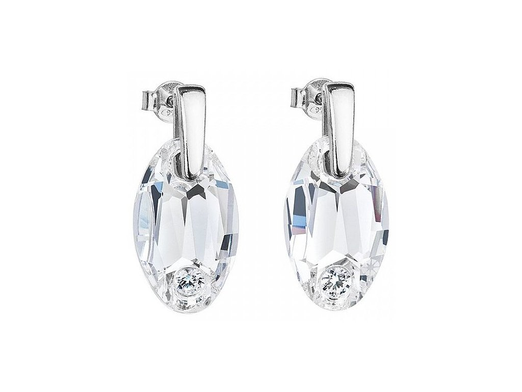 Stříbrné náušnice Elegancy v křišťálové barvě od firmy Preciosa