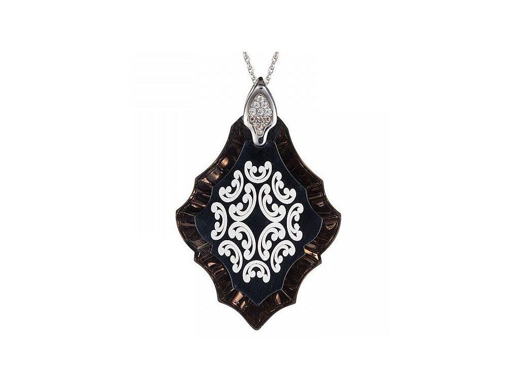 Přívěsek z broušeného skla Magic Flower v tmavých odstínech od firmy Preciosa