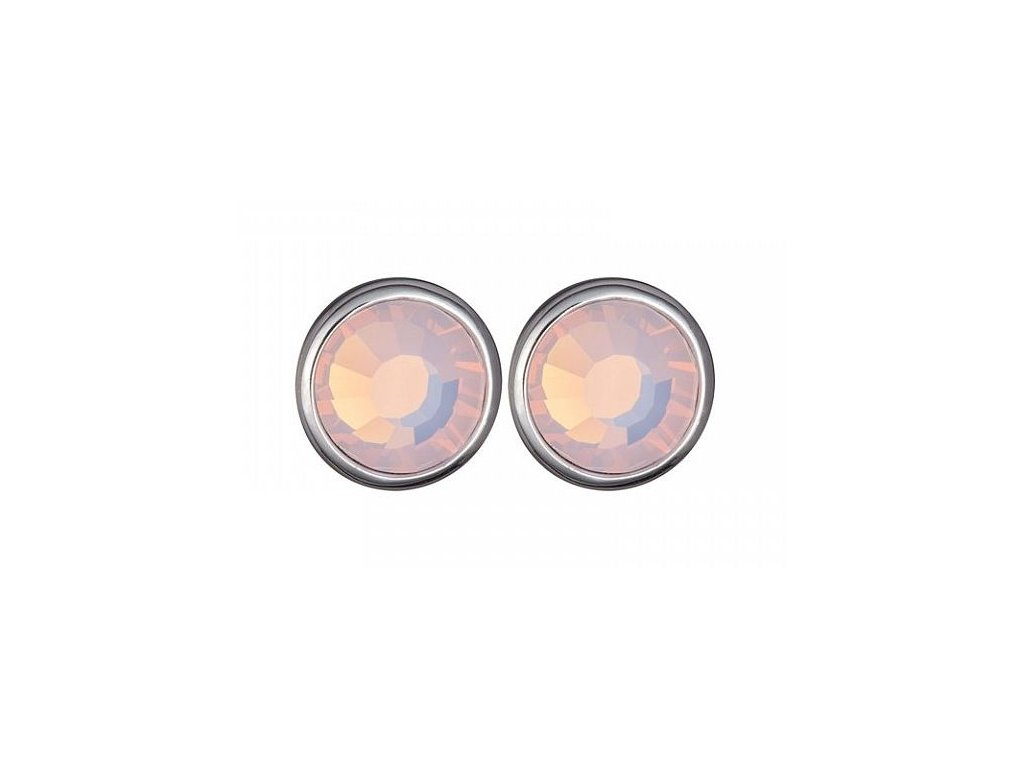 Stříbrné náušnice Magical Spark ve světle růžové barvě od firmy Preciosa