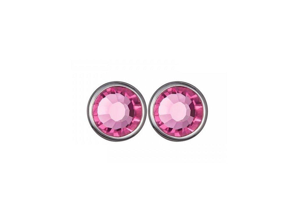 Stříbrné náušnice Magical Spark v růžové barvě od firmy Preciosa