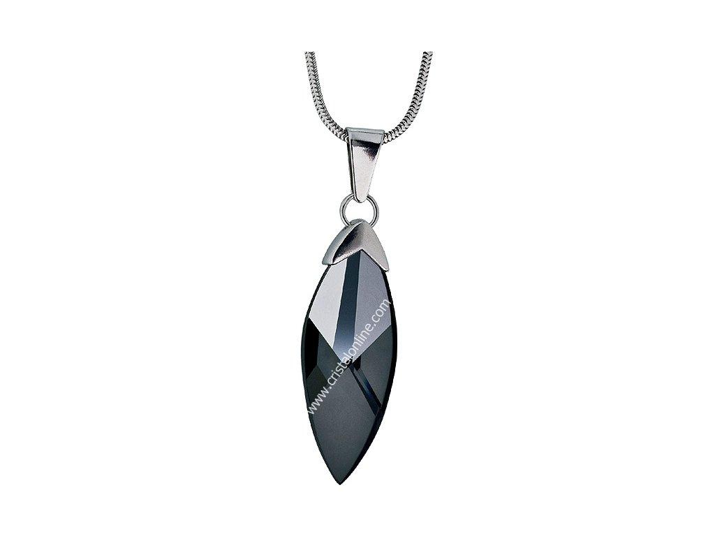 Přívěsek z broušeného skla na stříbrném řetízku Glacon v černé barvě od firmy Preciosa