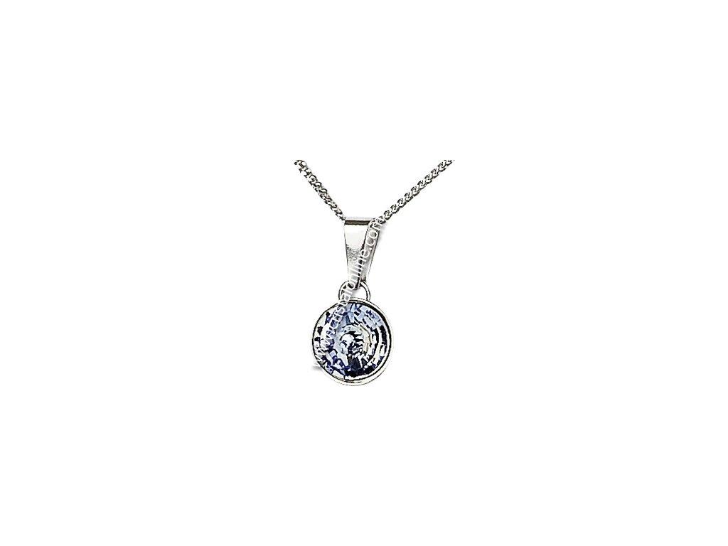 Přívěsek z broušeného skla na stříbrném řetízku Sparkling Shine v jemně fialkové barvě od firmy Preciosa