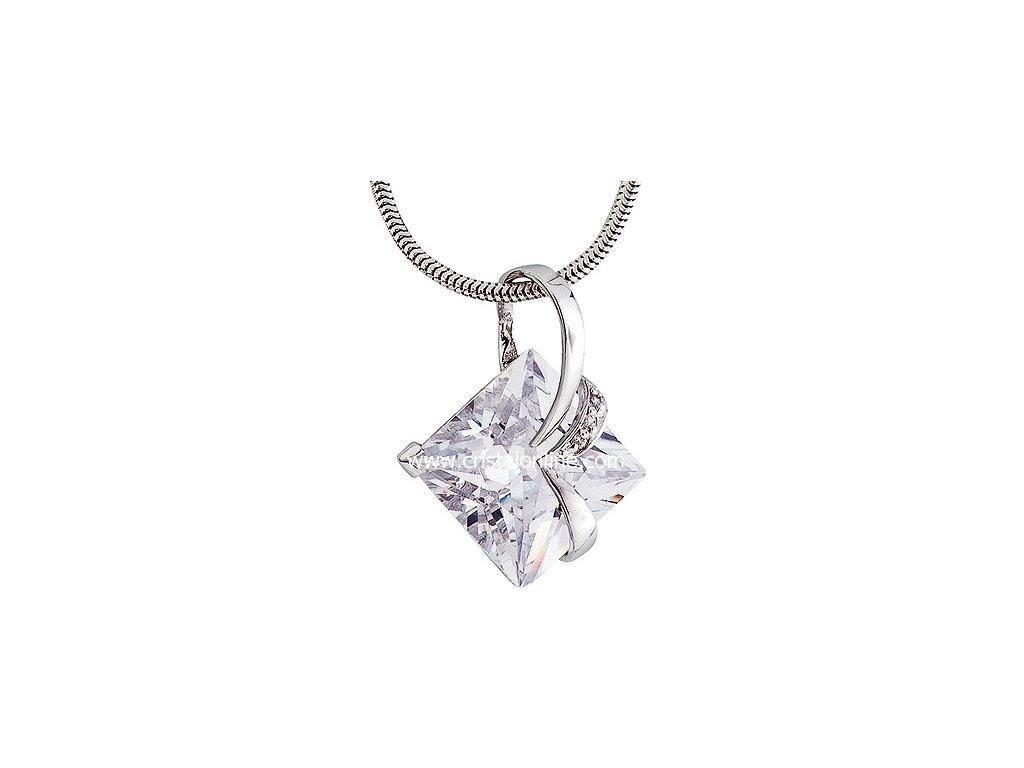 Přívěsek se zirkony na stříbrném řetízku Attractive v barvě čirého krystalu - 5017 00