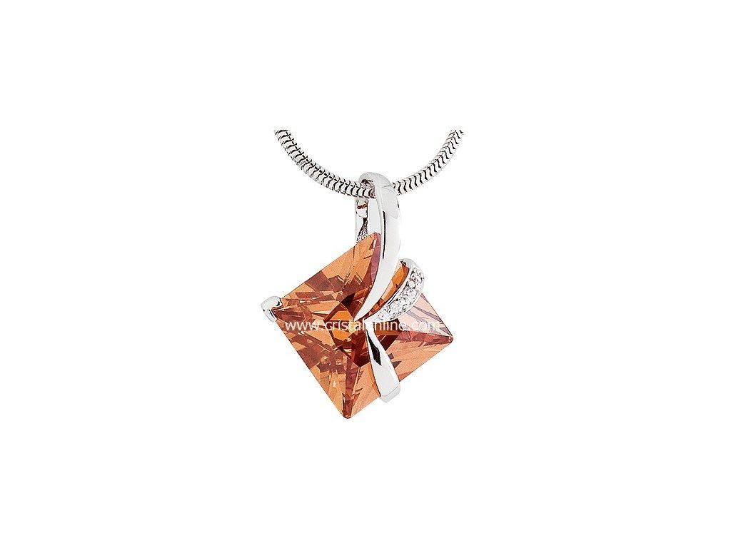 Přívěsek se zirkony na stříbrném řetízku Attractive v světle oranžovo hnědé - 5017 61