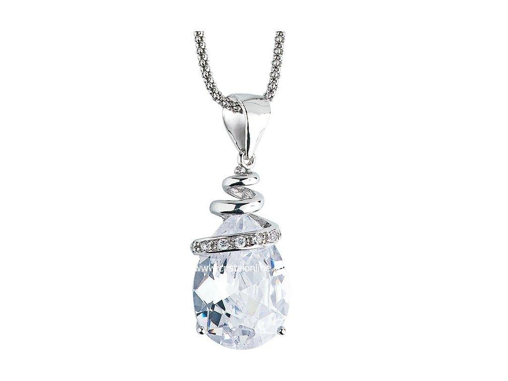 Přívěsek se zirkony na stříbrném řetízku Elegant v barvě čirého krystalu - 5026 00