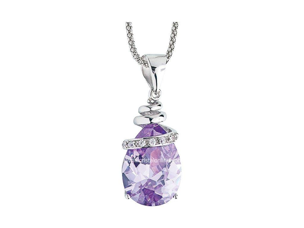 Přívěsek se zirkony na stříbrném řetízku Elegant ve fialové barvě - 5026 56