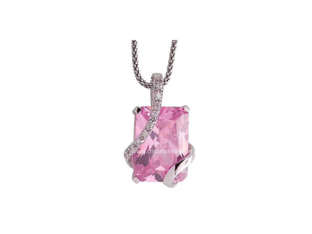 Přívěsek se zirkony na stříbrném řetízku Graceful v růžové barvě - 5028 69