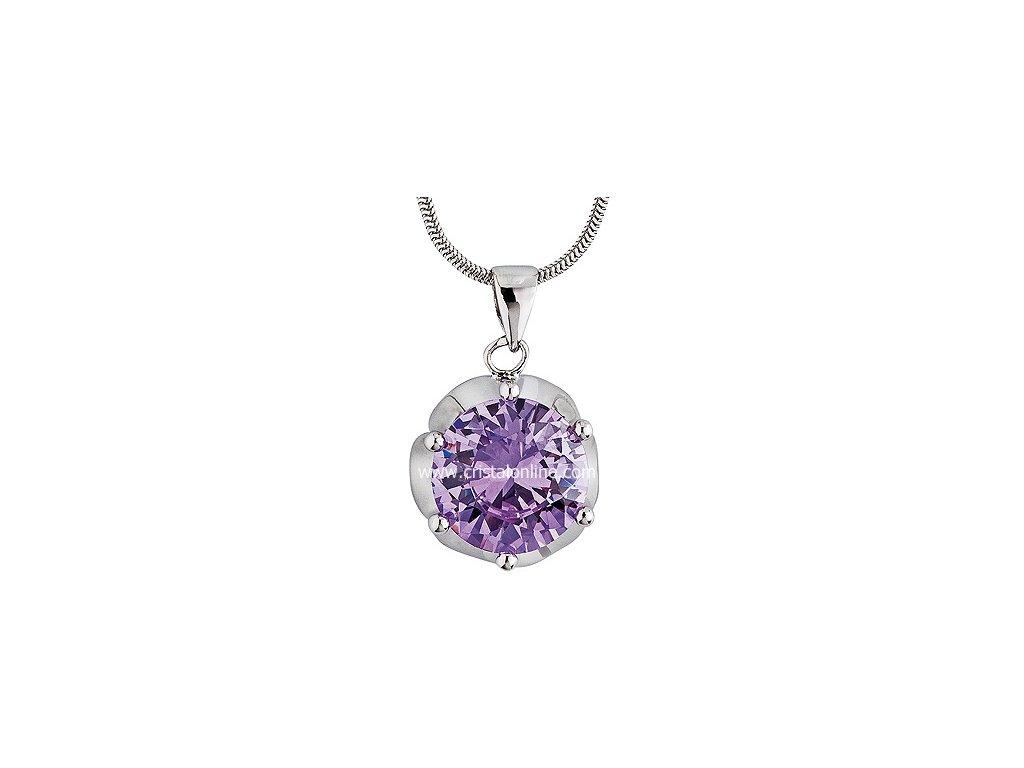 Přívěsek se zirkonem na stříbrném řetízku Charming ve fialové barvě - 5020 56