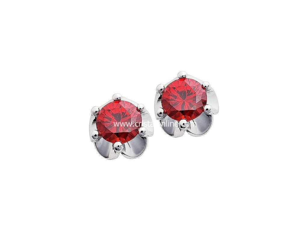 Stříbrné náušnice se zirkonem z kolekce Karibské emoce v tmavě červené barvě - Charming
