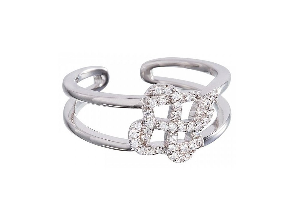 Stříbrný prsten Symbol of Happiness v křišťálové barvě od firmy Preciosa