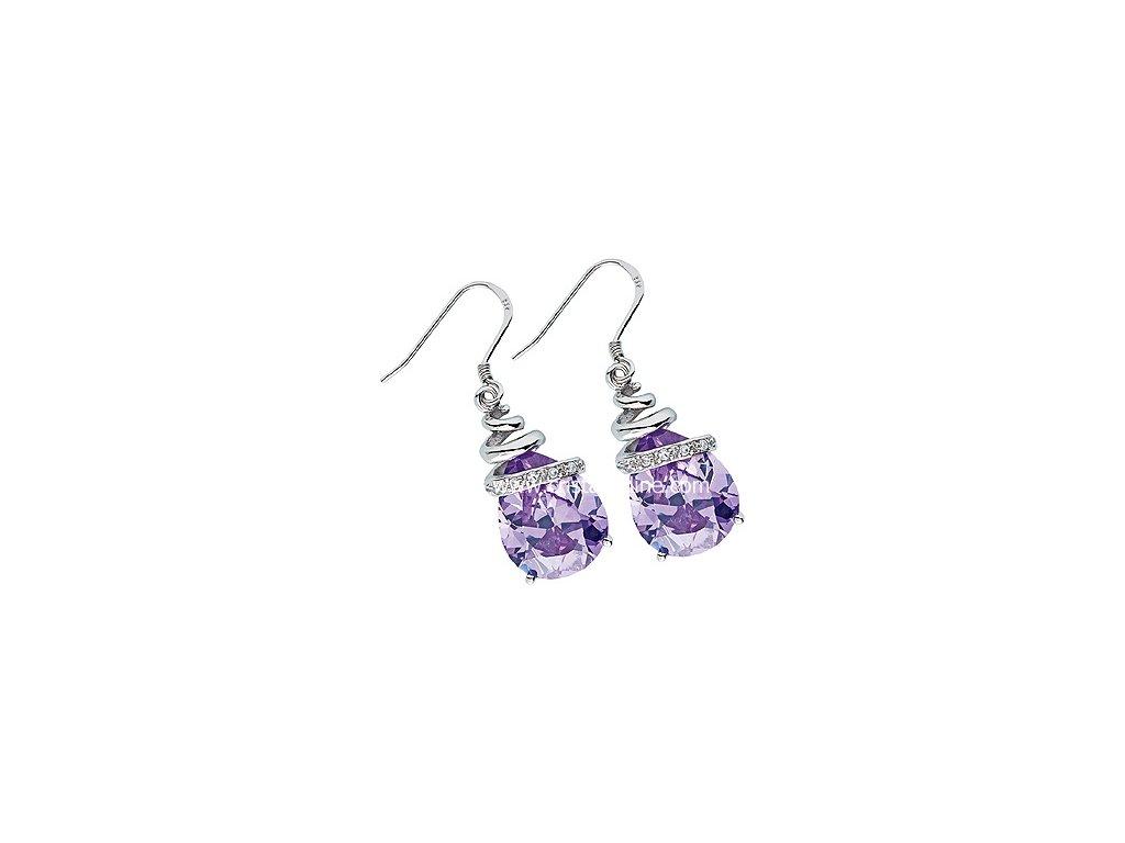 Stříbrné náušnice se zirkony z kolekce Karibské emoce ve fialové barvě - Elegant
