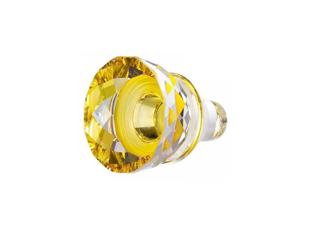 Skleněná figurka z broušeného křišťálu Sklo Bohemia - Skleněný špunt - Skleněná zátka na víno (žlutý)