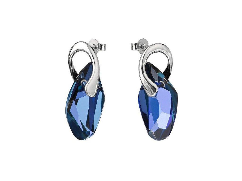 Náušnice z broušeného skla Graceful Style v modré barvě od firmy Preciosa