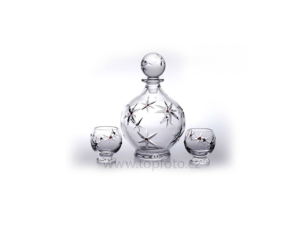 Český granát - Sklo s granátem - Broušené skleničky na koňak a likéry s lahví - Souprava pro Dva