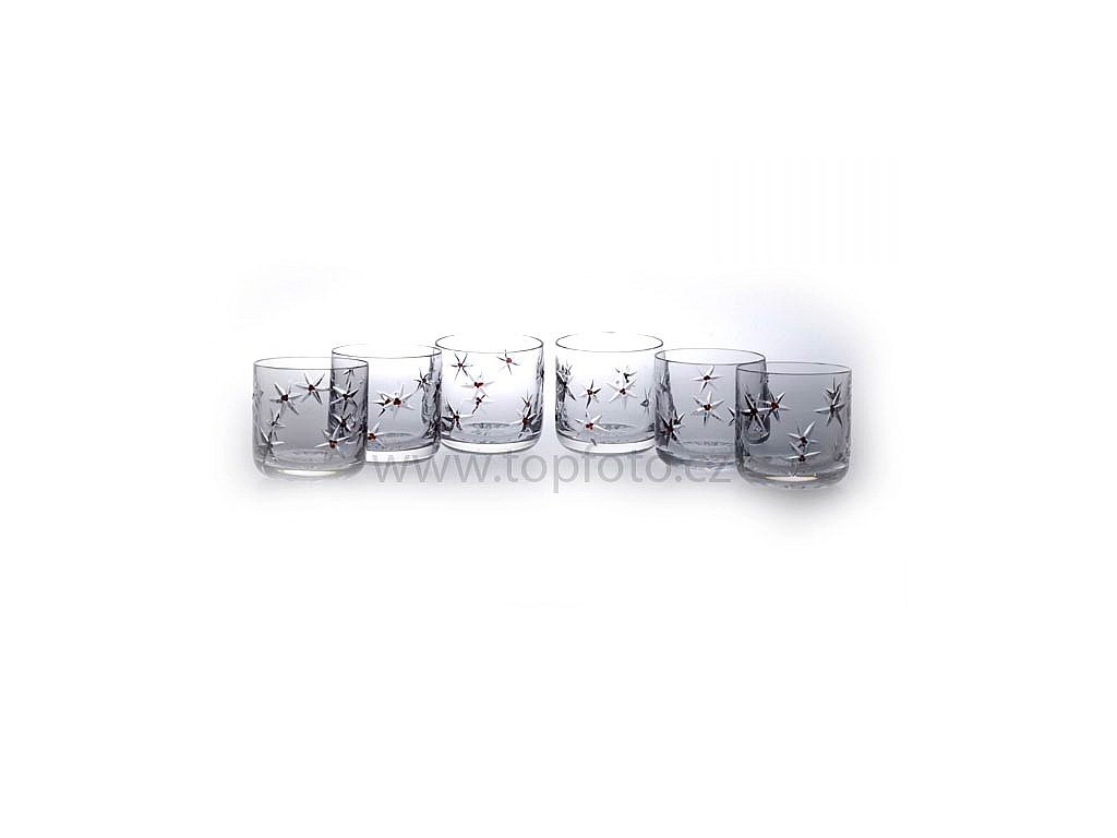 Český granát - Sklo s granátem - Broušené skleničky na whisky a tvrdý alkohol - Souprava pro 6