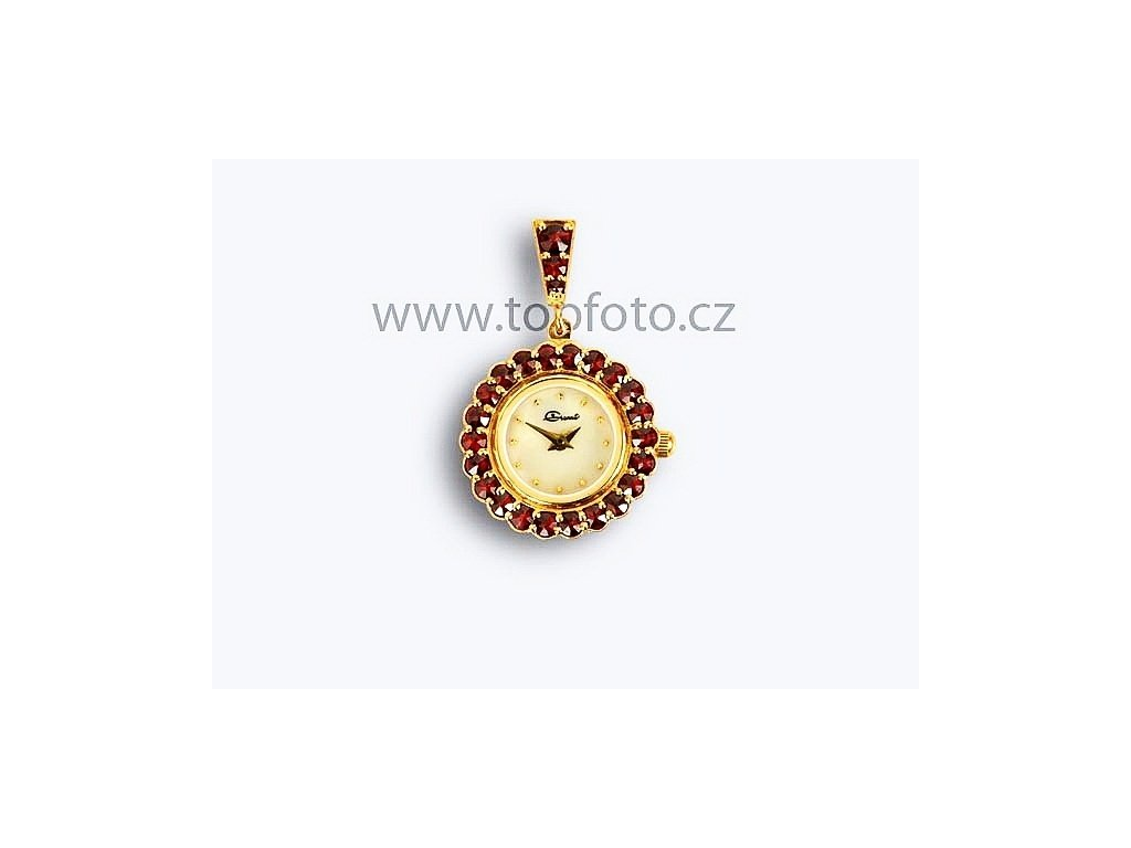 Český granát - Přívěsek s českým granátem ve formě dámských hodinek 961