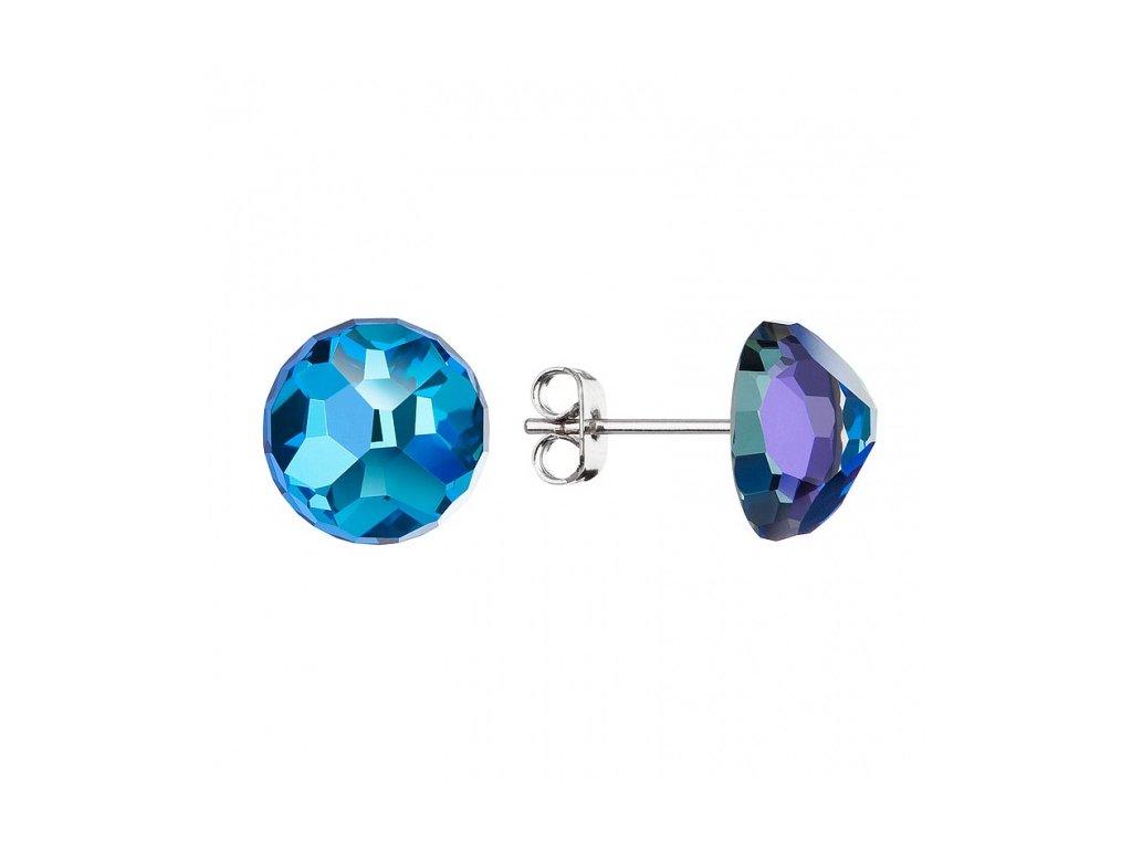 Náušnice z broušeného skla Moment Magique v modré barvě od firmy Preciosa