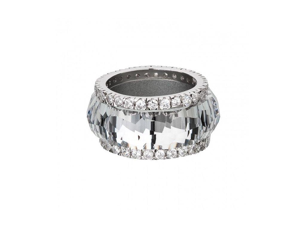 Stříbrný prsten z broušeného skla De Luxe v křišťálové barvě od firmy Preciosa