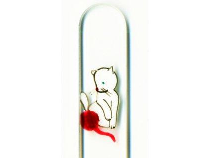Skleněný pilník na nehty ručně malovaný 90 mm - Bílé koťátko s klubíčkem