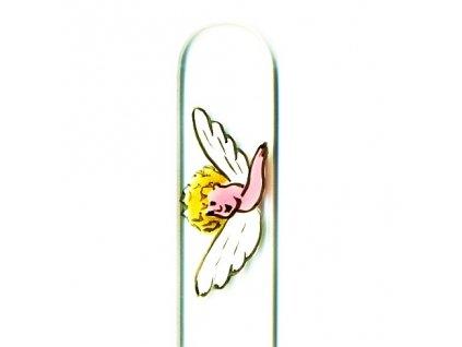 Skleněný pilník na nehty ručně malovaný 90 mm - Anděl se zlatými vlásky